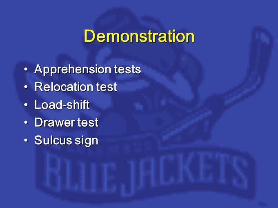 Demonstration Apprehension testsApprehension tests Relocation testRelocation test Load-shiftLoad-shift Drawer testDrawer test Sulcus signSulcus sign
