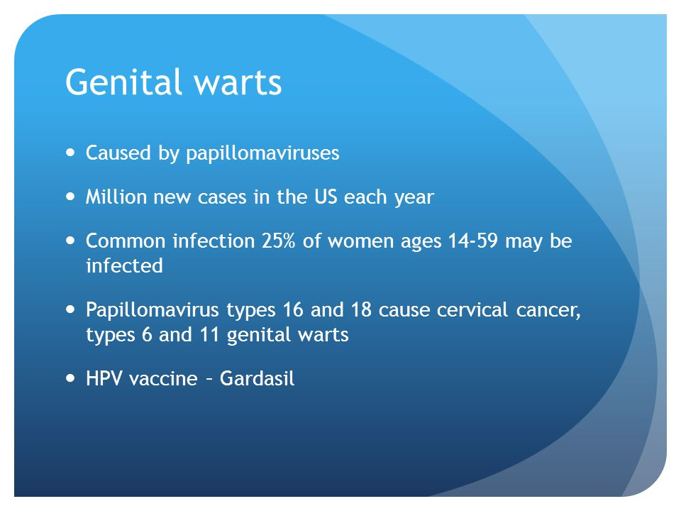 Genital warts Caused by papillomaviruses Million new cases in the US each year Common infection 25% of women ages 14-59 may be infected Papillomavirus