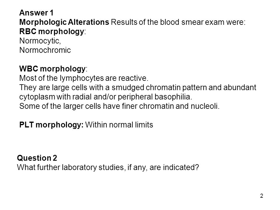 123 Answer 1 Morphologic Alterations Results of the blood smear exam were: RBC morphology: Normochromic Numerous red cells contain intraerythrocytic organisms.