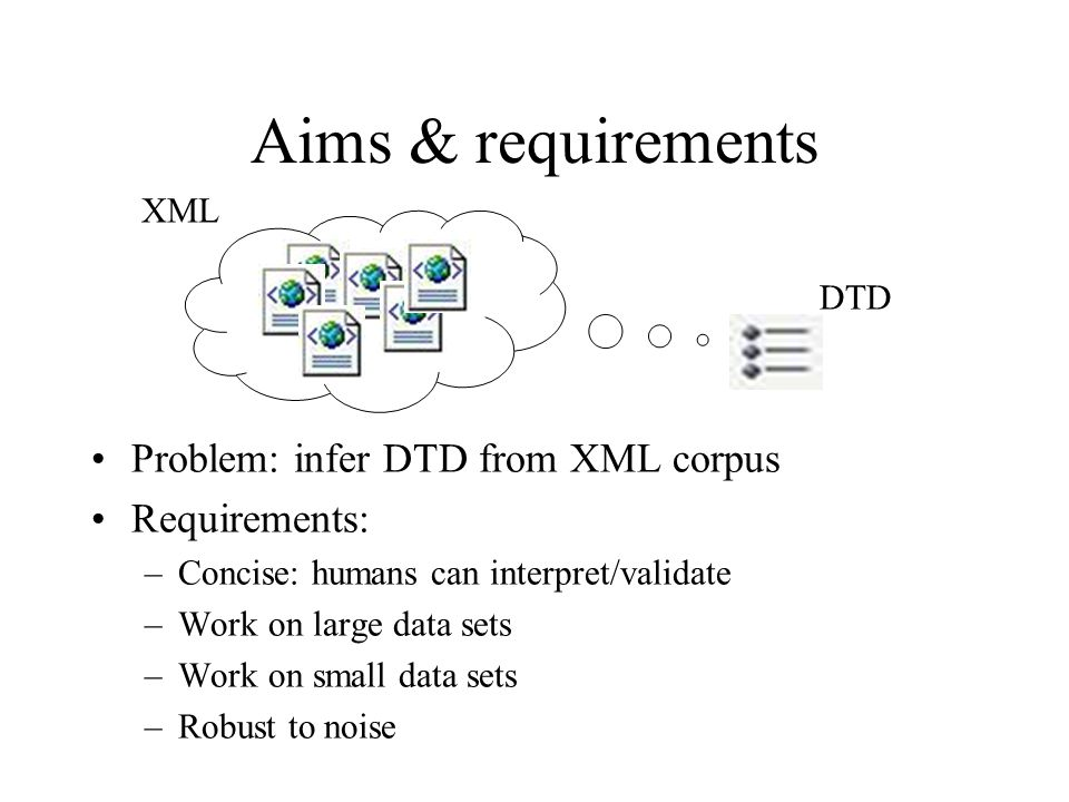 Aims & requirements Problem: infer DTD from XML corpus Requirements: –Concise: humans can interpret/validate –Work on large data sets –Work on small data sets –Robust to noise DTD XML