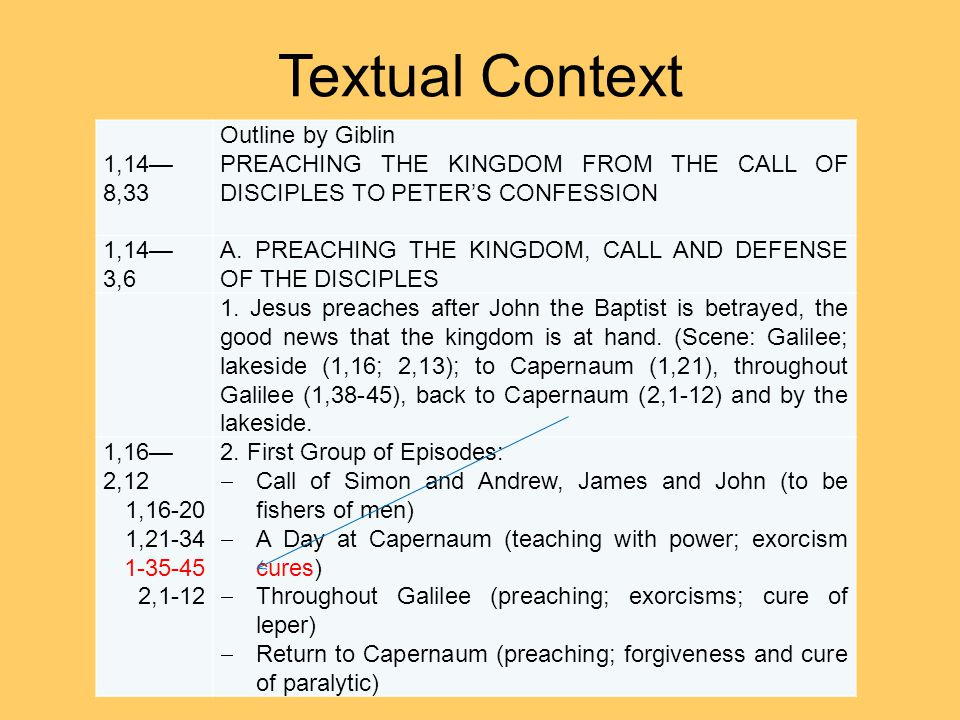 Textual Context 1,14— 8,33 Outline by Giblin PREACHING THE KINGDOM FROM THE CALL OF DISCIPLES TO PETER'S CONFESSION 1,14— 3,6 A.