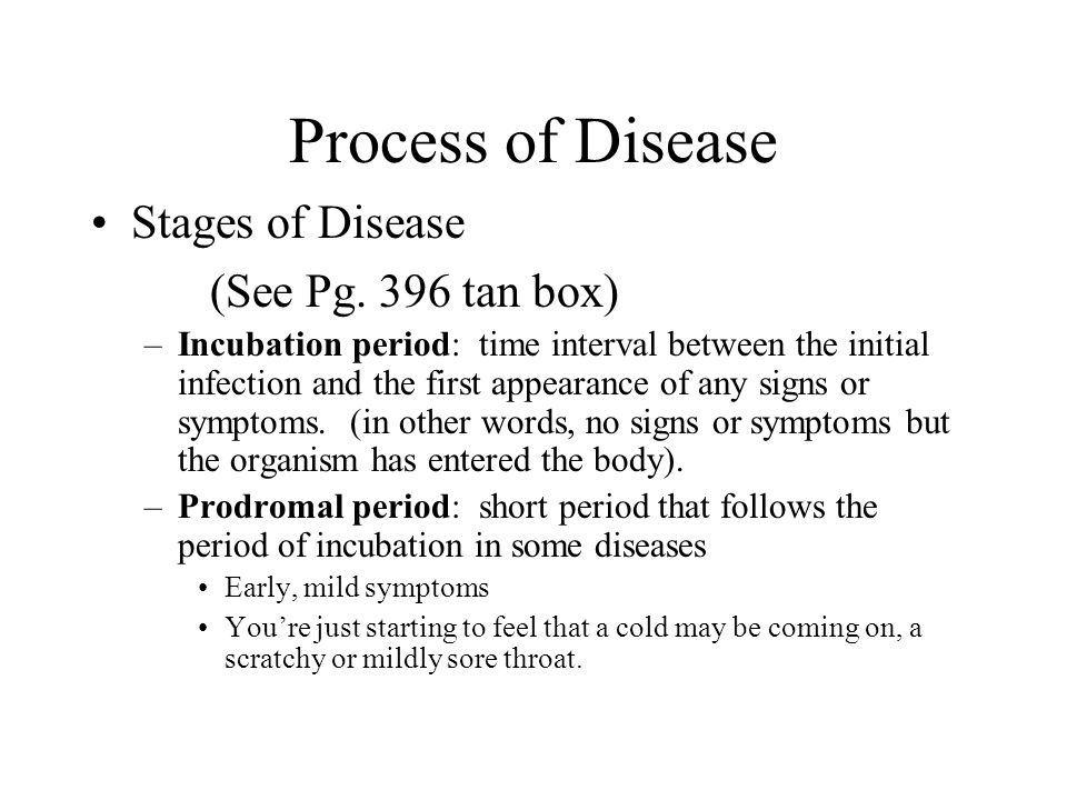 Process of Disease Stages of Disease (See Pg. 396 tan box) –Incubation period: time interval between the initial infection and the first appearance of