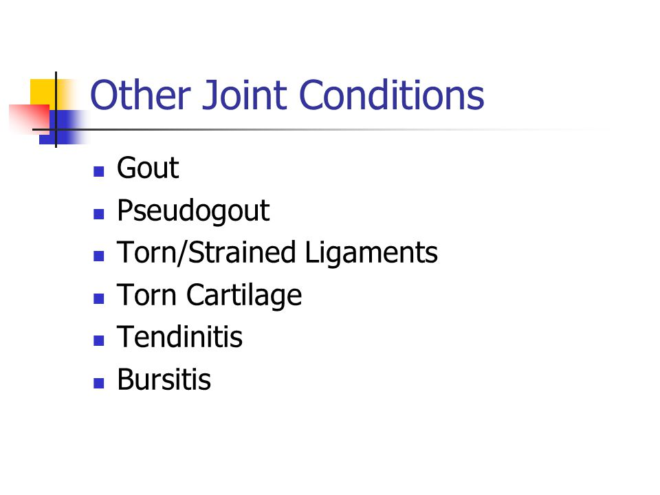 Bursitis Risk Factors: Repetitive tasks; people who work on their knees (carpet layers, roofers, gardeners) Treatment: Medications: NSAIDS, Corticosteroids Ice Drain extra fluids Surgery