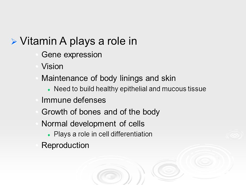 Vitamin A plays a role in Gene expressionGene expression VisionVision Maintenance of body linings and skinMaintenance of body linings and skin Need