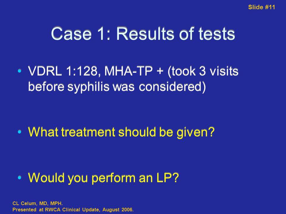 Slide #11 CL Celum, MD, MPH. Presented at RWCA Clinical Update, August 2006.
