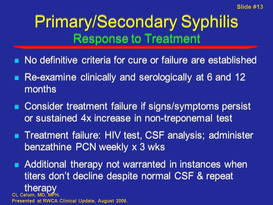 Slide #13 CL Celum, MD, MPH. Presented at RWCA Clinical Update, August 2006.