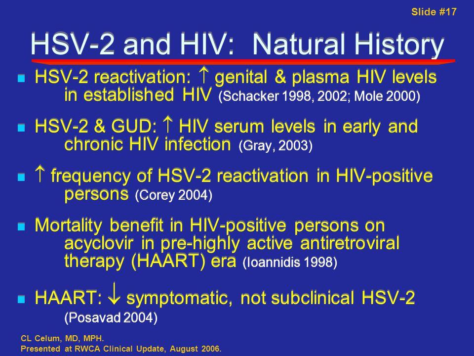 Slide #17 CL Celum, MD, MPH. Presented at RWCA Clinical Update, August 2006.