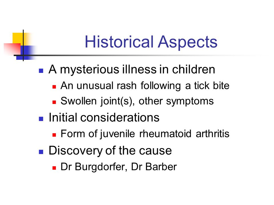 Historical Aspects A mysterious illness in children An unusual rash following a tick bite Swollen joint(s), other symptoms Initial considerations Form
