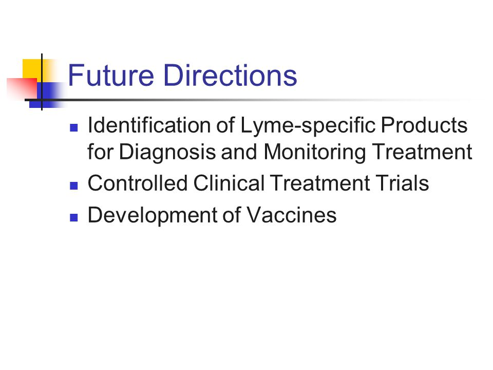 Future Directions Identification of Lyme-specific Products for Diagnosis and Monitoring Treatment Controlled Clinical Treatment Trials Development of
