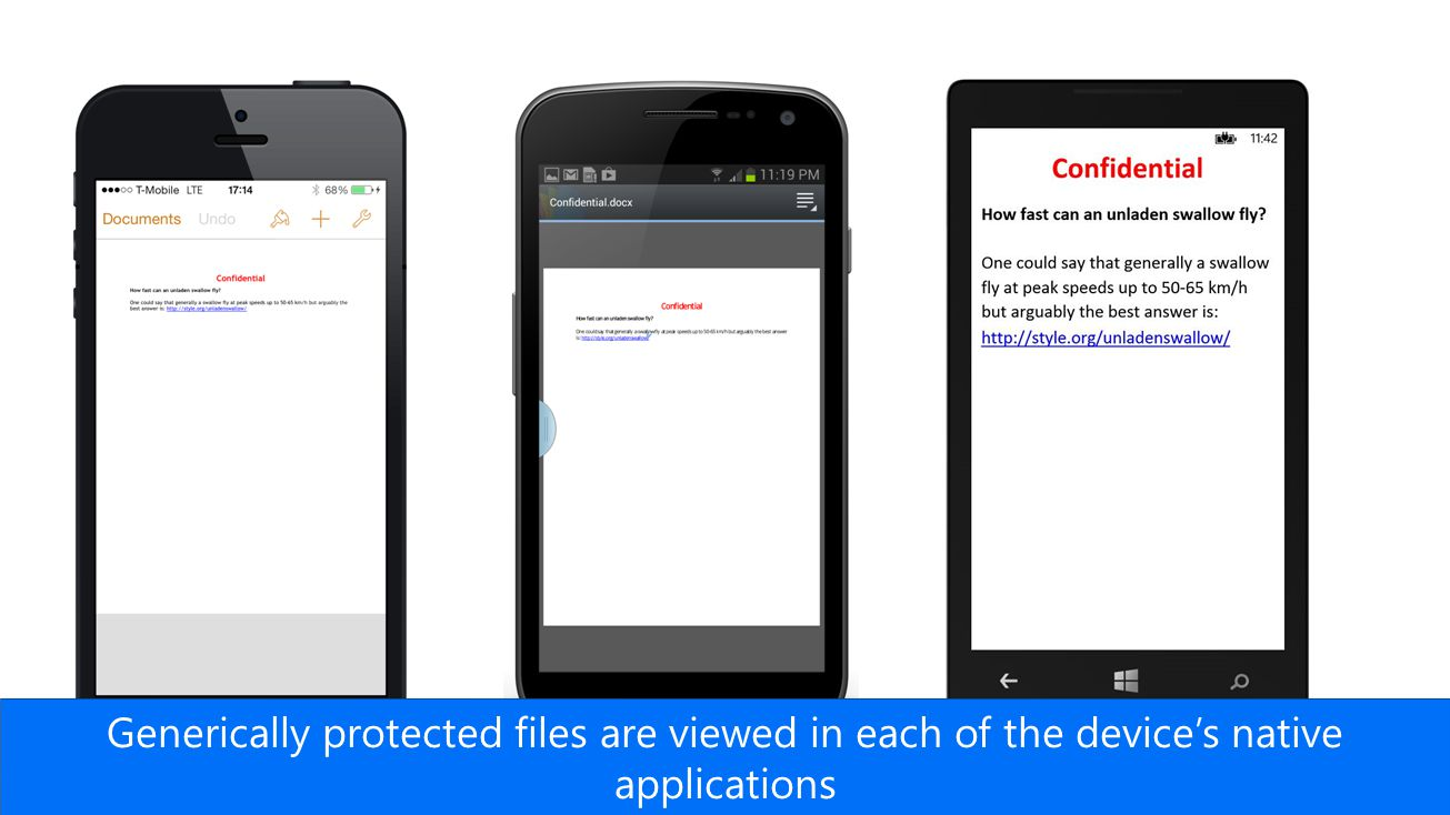 Generically protected files are viewed in each of the device's native applications