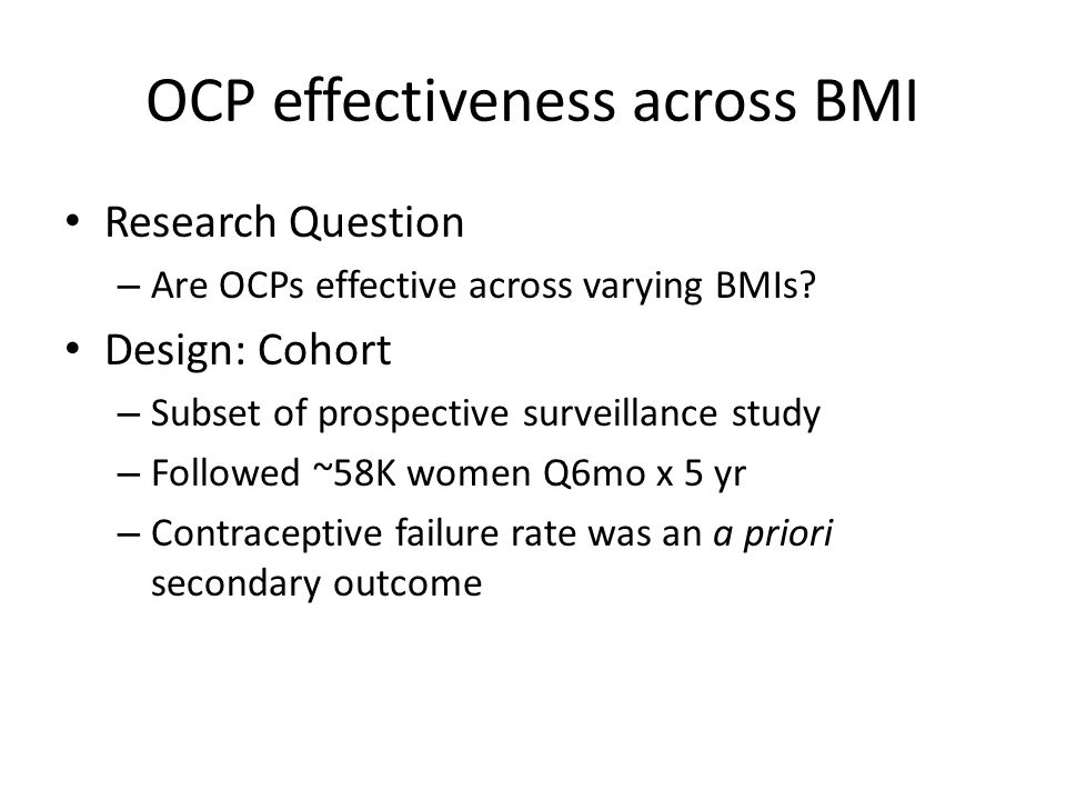 OCP effectiveness across BMI Research Question – Are OCPs effective across varying BMIs.