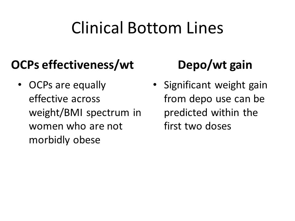 Clinical Bottom Lines OCPs effectiveness/wt OCPs are equally effective across weight/BMI spectrum in women who are not morbidly obese Depo/wt gain Significant weight gain from depo use can be predicted within the first two doses