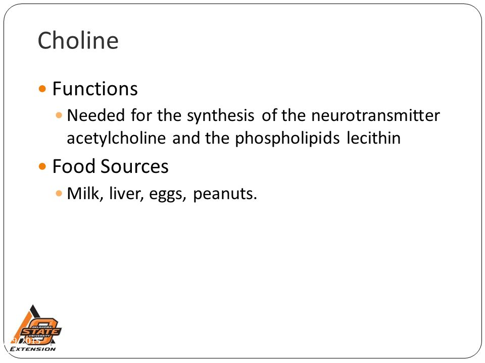 4/29/2015 Choline Functions Needed for the synthesis of the neurotransmitter acetylcholine and the phospholipids lecithin Food Sources Milk, liver, eg