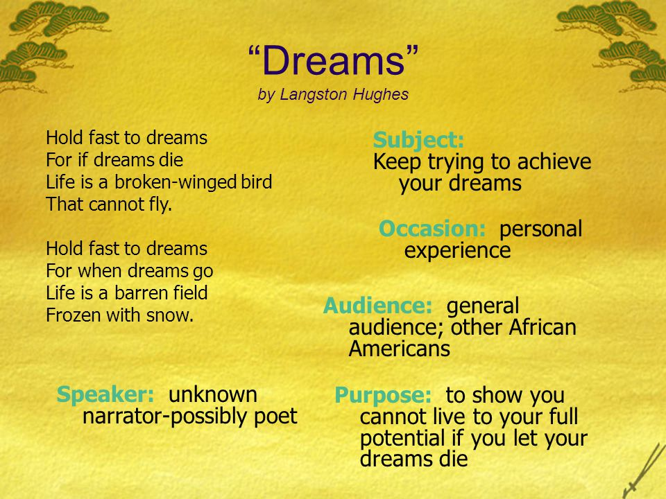 Subject: Keep trying to achieve your dreams Occasion: personal experience Purpose: to show you cannot live to your full potential if you let your dreams die Dreams by Langston Hughes Hold fast to dreams For if dreams die Life is a broken-winged bird That cannot fly.