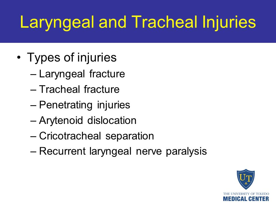 Laryngeal and Tracheal Injuries Types of injuries –Laryngeal fracture –Tracheal fracture –Penetrating injuries –Arytenoid dislocation –Cricotracheal s