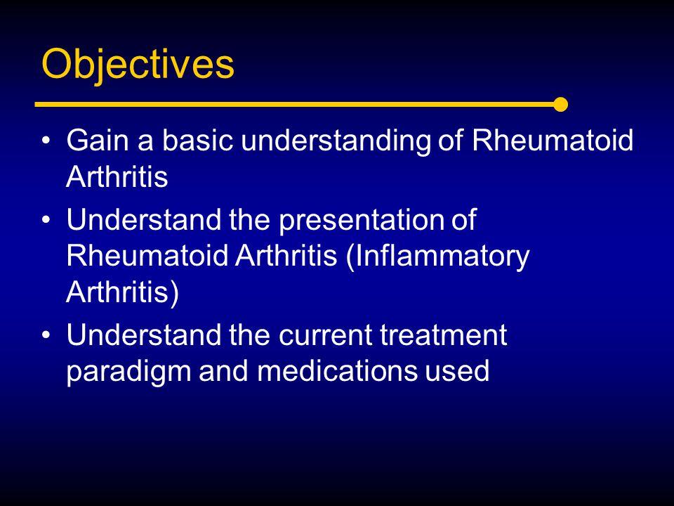 Objectives Gain a basic understanding of Rheumatoid Arthritis Understand the presentation of Rheumatoid Arthritis (Inflammatory Arthritis) Understand