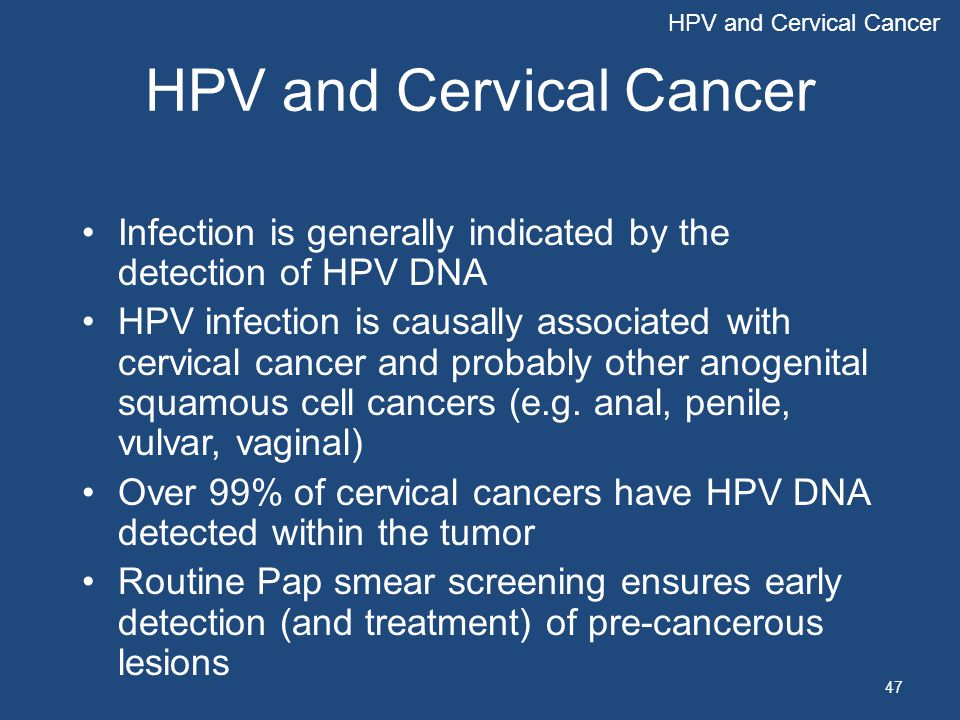 47 HPV and Cervical Cancer Infection is generally indicated by the detection of HPV DNA HPV infection is causally associated with cervical cancer and