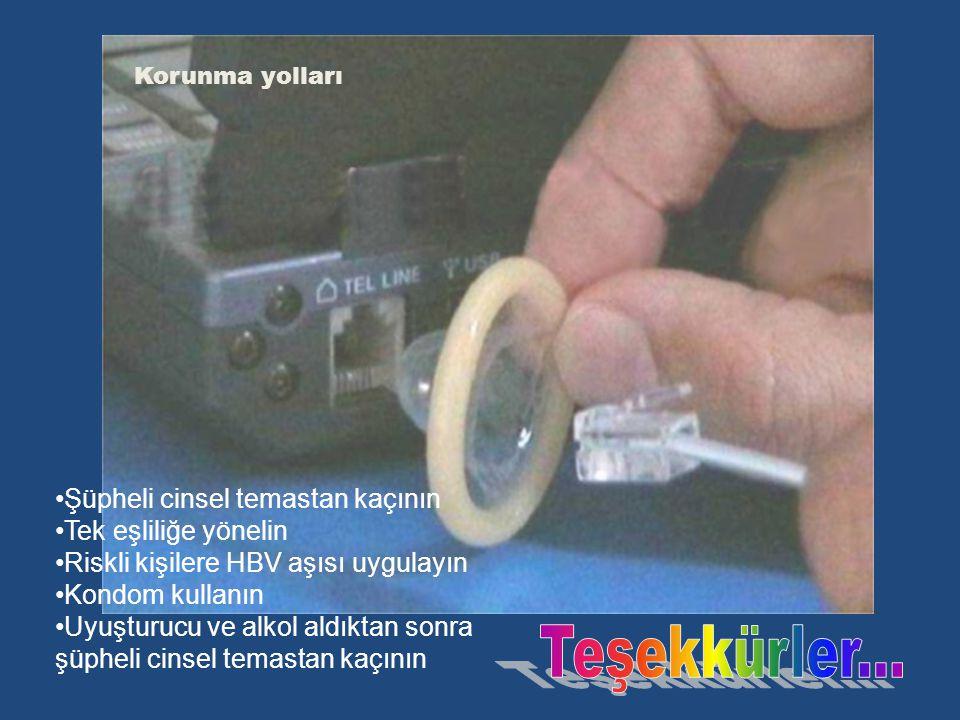 Korunma yolları Şüpheli cinsel temastan kaçının Tek eşliliğe yönelin Riskli kişilere HBV aşısı uygulayın Kondom kullanın Uyuşturucu ve alkol aldıktan