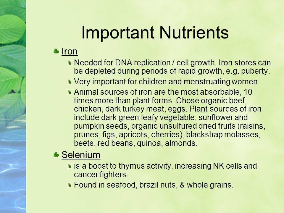 Important Nutrients Iron Needed for DNA replication / cell growth.