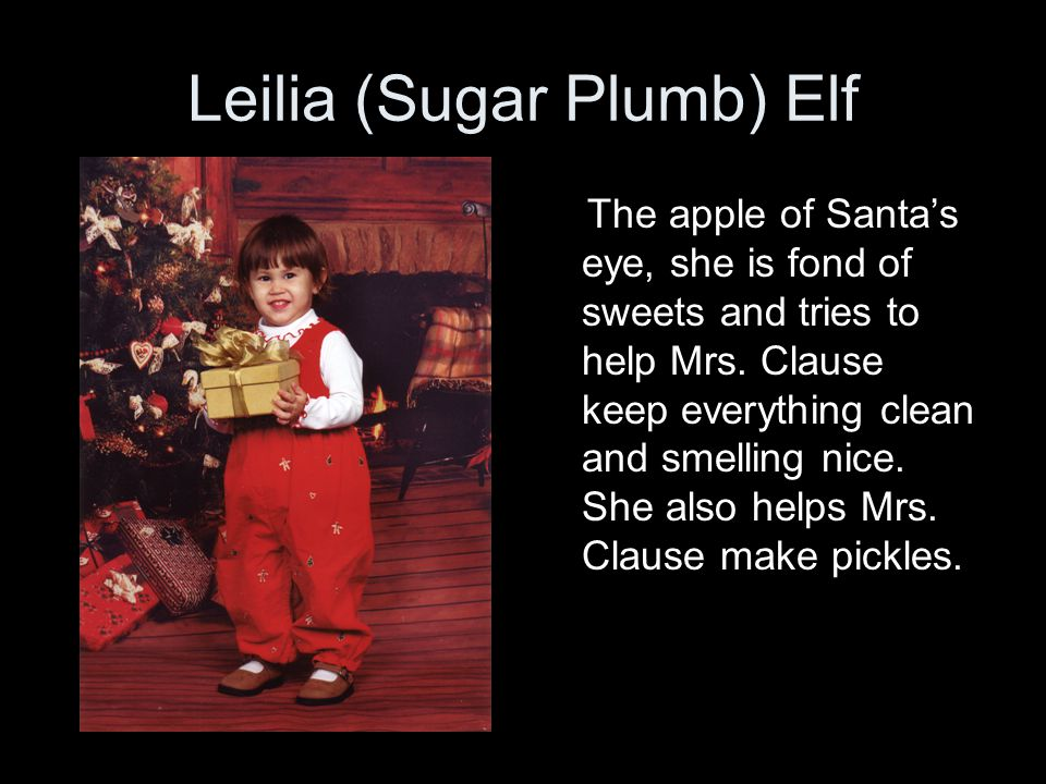 Leilia (Sugar Plumb) Elf The apple of Santa's eye, she is fond of sweets and tries to help Mrs.