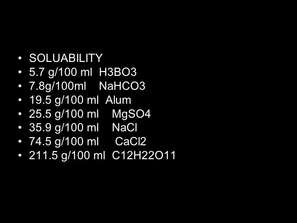 SOLUABILITY 5.7 g/100 ml H3BO3 7.8g/100ml NaHCO3 19.5 g/100 ml Alum 25.5 g/100 ml MgSO4 35.9 g/100 ml NaCl 74.5 g/100 ml CaCl2 211.5 g/100 ml C12H22O1