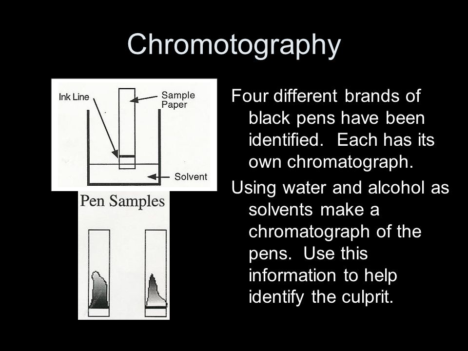 Chromotography Four different brands of black pens have been identified.