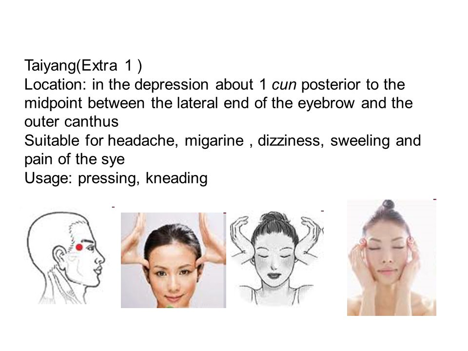 Yingtang(Extra 2),also known as the upper elixir field in Qigong, on the Govener/Du channel, but not the acupoint of GC Location: midpoint of the line between the medial ends of the two eysbrows Suitable for headache,, nasal obstruction, rhinitis, dizziness, eye diseases, insominar, hypetension.