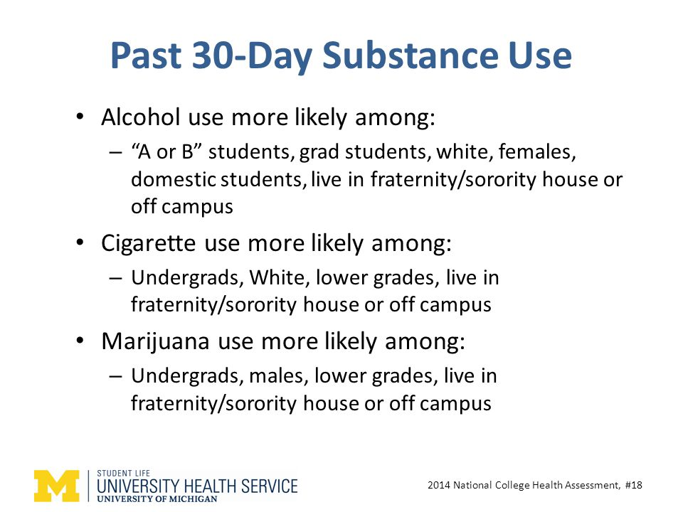 Past 30-Day Substance Use Alcohol use more likely among: – A or B students, grad students, white, females, domestic students, live in fraternity/sorority house or off campus Cigarette use more likely among: – Undergrads, White, lower grades, live in fraternity/sorority house or off campus Marijuana use more likely among: – Undergrads, males, lower grades, live in fraternity/sorority house or off campus 2014 National College Health Assessment, #18