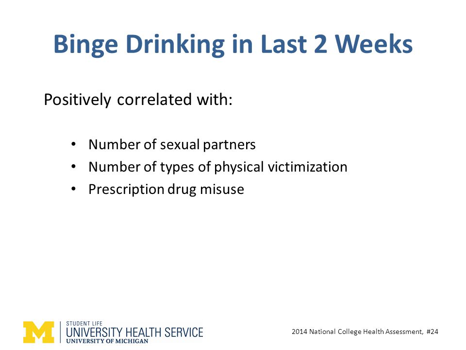 Binge Drinking in Last 2 Weeks Number of sexual partners Number of types of physical victimization Prescription drug misuse 2014 National College Health Assessment, #24 Positively correlated with:
