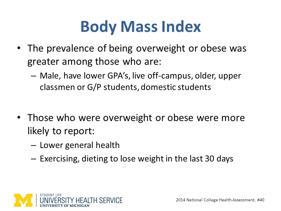 Body Mass Index The prevalence of being overweight or obese was greater among those who are: – Male, have lower GPA's, live off-campus, older, upper classmen or G/P students, domestic students Those who were overweight or obese were more likely to report: – Lower general health – Exercising, dieting to lose weight in the last 30 days 2014 National College Health Assessment, #40