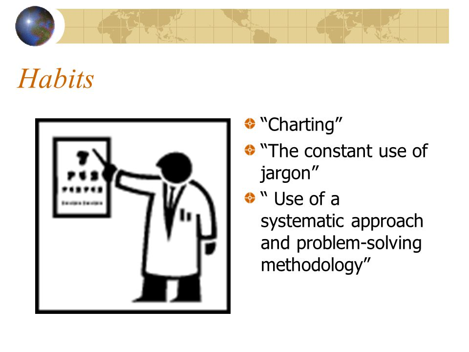 Habits Charting The constant use of jargon Use of a systematic approach and problem-solving methodology