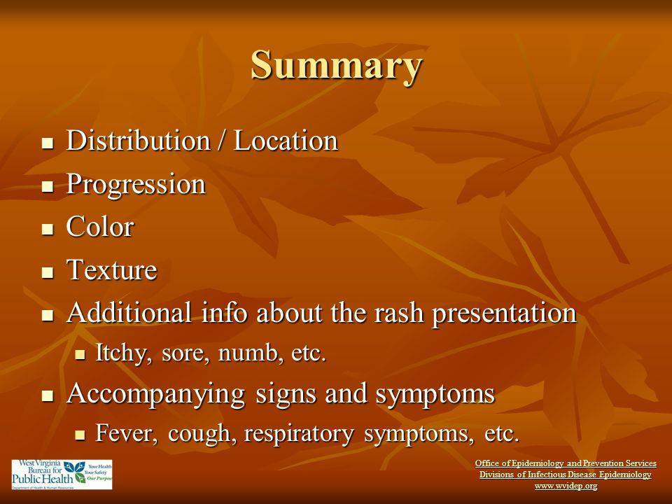 Summary Distribution / Location Distribution / Location Progression Progression Color Color Texture Texture Additional info about the rash presentatio