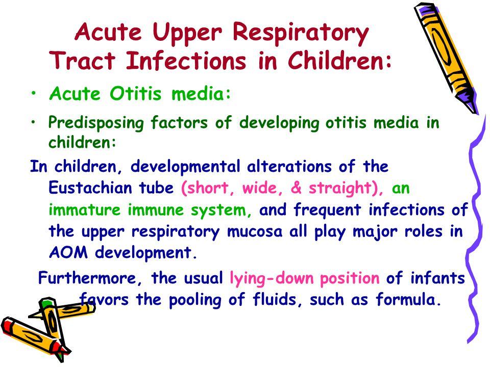 Acute Upper Respiratory Tract Infections in Children: Acute Otitis media: Predisposing factors of developing otitis media in children: In children, de