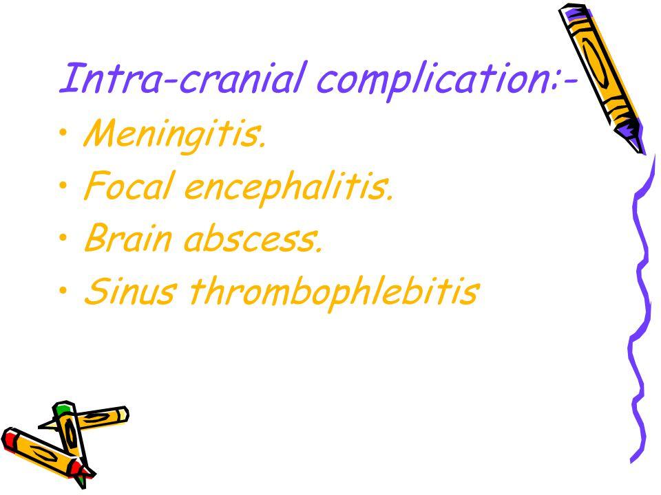 Intra-cranial complication:- Meningitis. Focal encephalitis. Brain abscess. Sinus thrombophlebitis