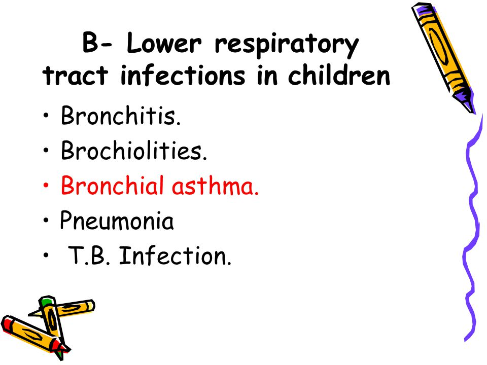 B- Lower respiratory tract infections in children Bronchitis.