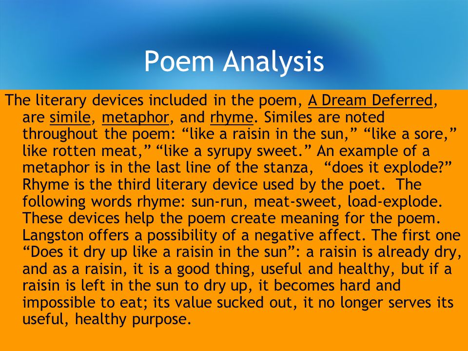 poems for analysis essay