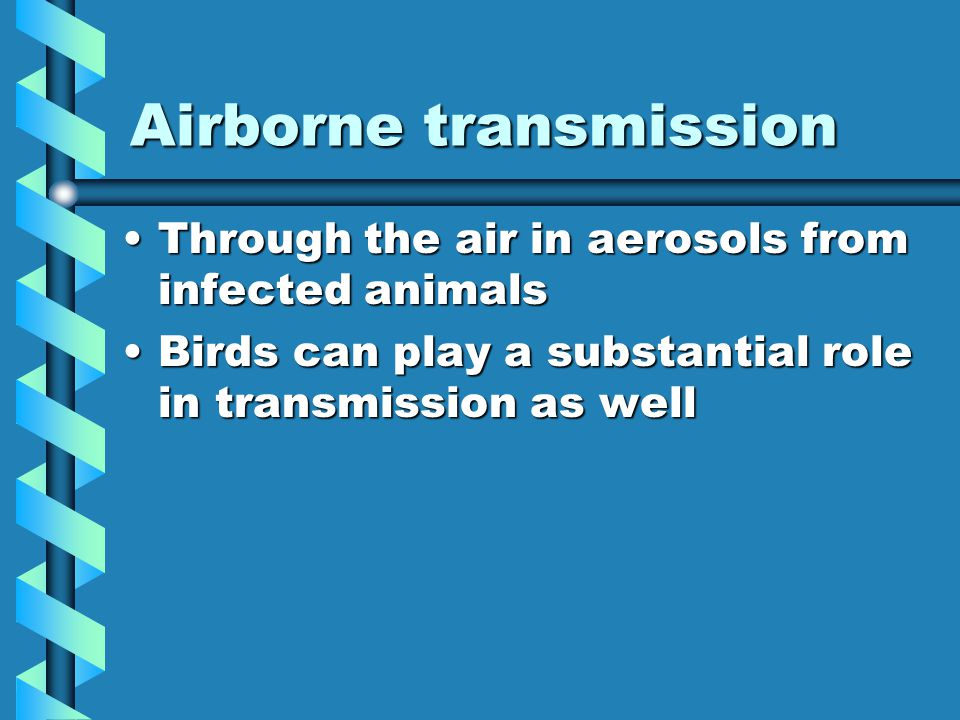 Airborne transmission Through the air in aerosols from infected animalsThrough the air in aerosols from infected animals Birds can play a substantial role in transmission as wellBirds can play a substantial role in transmission as well