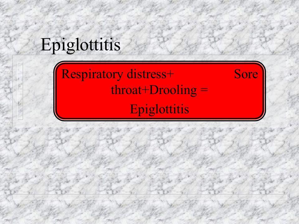 Epiglottitis Respiratory distress+ Sore throat+Drooling = Epiglottitis