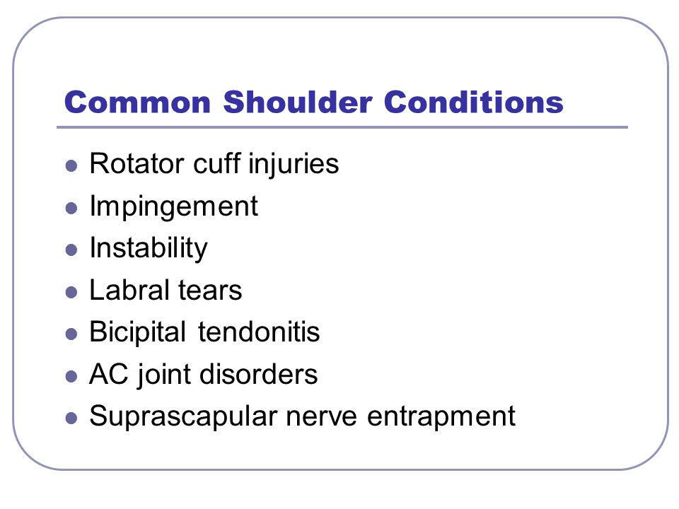 Common Shoulder Conditions Rotator cuff injuries Impingement Instability Labral tears Bicipital tendonitis AC joint disorders Suprascapular nerve entr