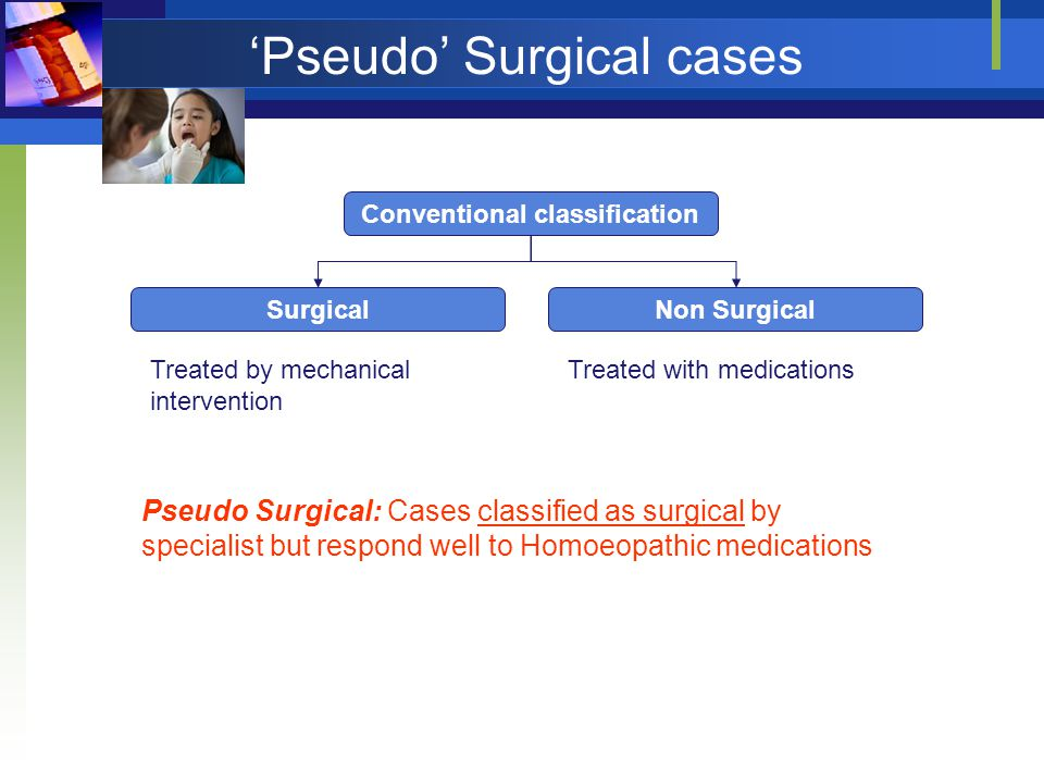 'Pseudo' Surgical cases Conventional classification SurgicalNon Surgical Treated by mechanical intervention Treated with medications Pseudo Surgical: