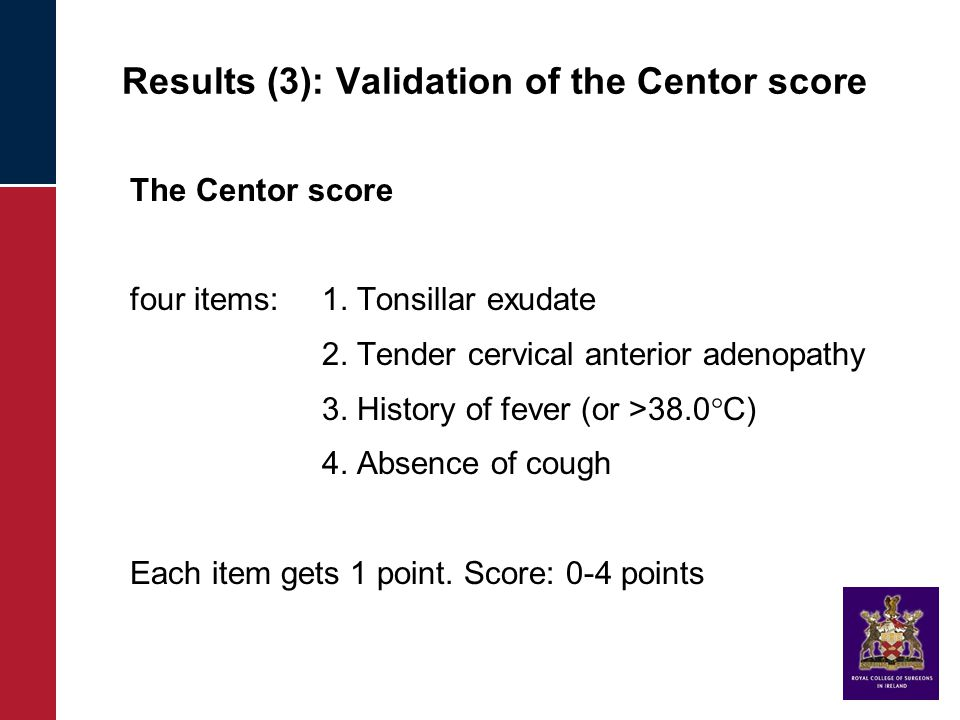 Results (3): Validation of the Centor score The Centor score four items: 1.