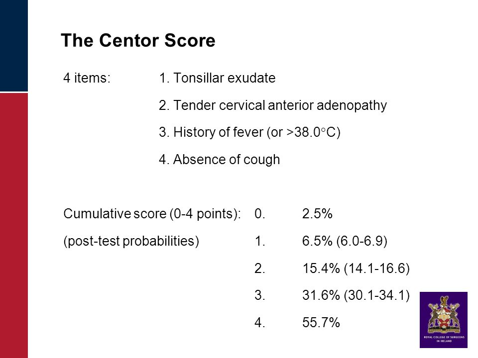 The Centor Score 4 items: 1. Tonsillar exudate 2.