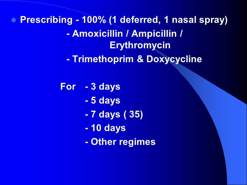Prescribing - 100% (1 deferred, 1 nasal spray) - Amoxicillin / Ampicillin / Erythromycin - Trimethoprim & Doxycycline For - 3 days - 5 days - 7 days ( 35) - 10 days - Other regimes