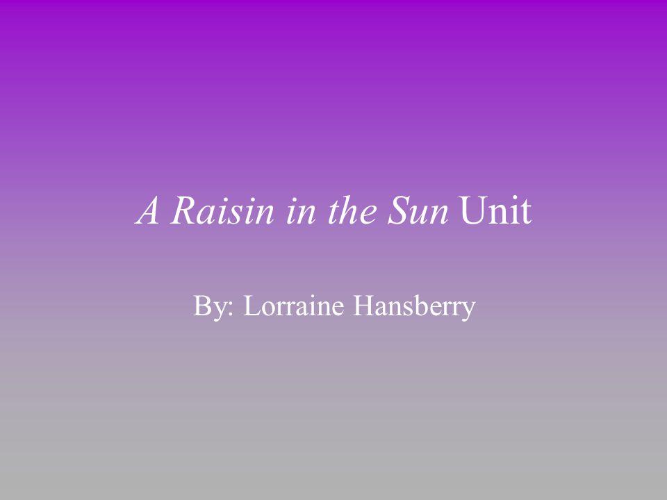 A Raisin in the Sun Unit By: Lorraine Hansberry