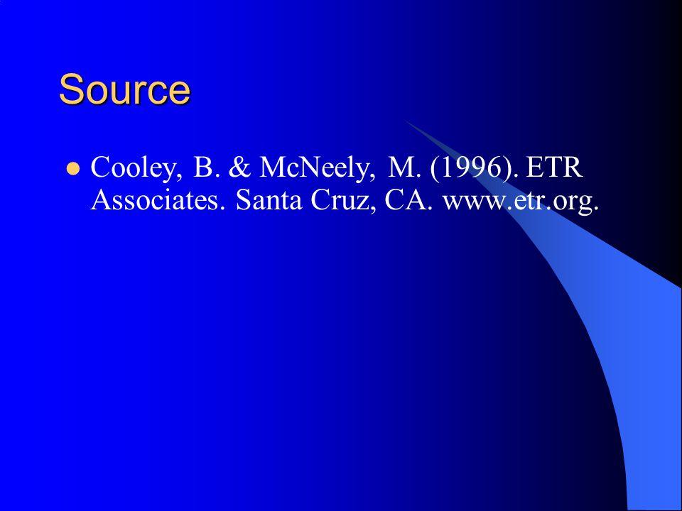 Source Cooley, B. & McNeely, M. (1996). ETR Associates. Santa Cruz, CA. www.etr.org.