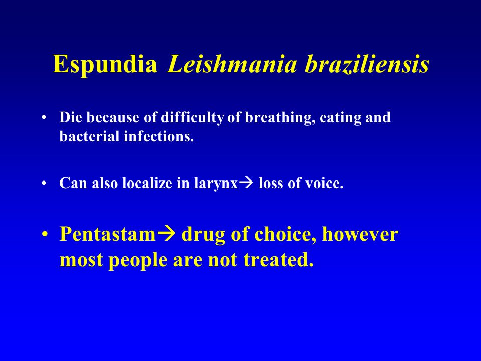 Espundia Leishmania braziliensis Die because of difficulty of breathing, eating and bacterial infections.