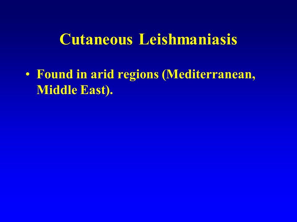 Cutaneous Leishmaniasis Found in arid regions (Mediterranean, Middle East).