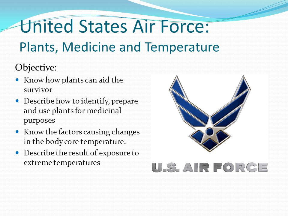 United States Air Force: Plants, Medicine and Temperature Objective: Know how plants can aid the survivor Describe how to identify, prepare and use pl