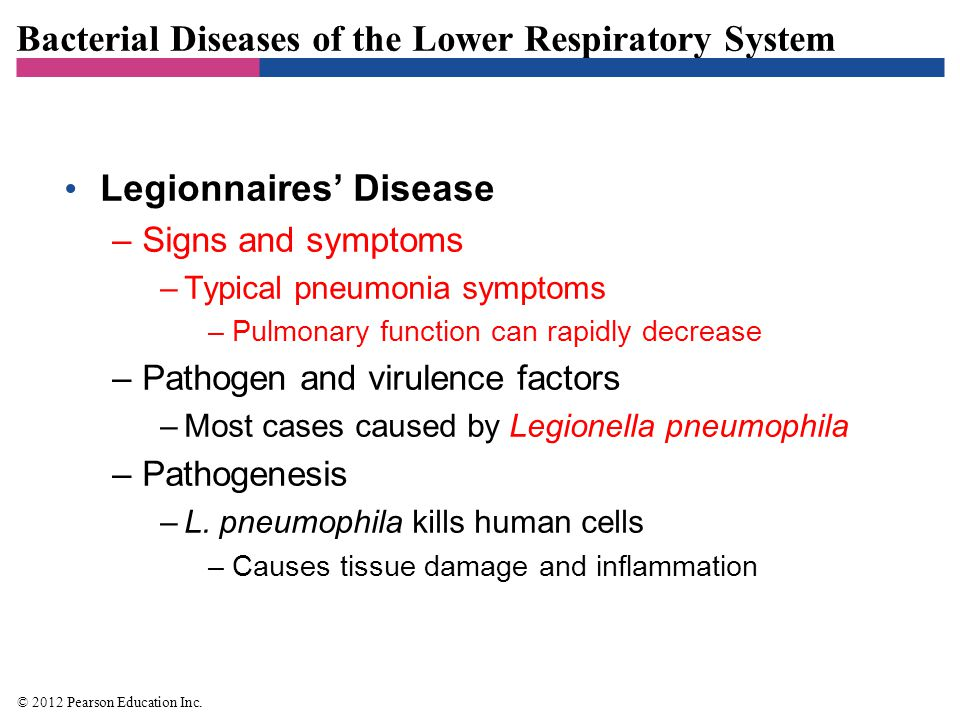 Bacterial Diseases of the Lower Respiratory System Legionnaires' Disease –Signs and symptoms –Typical pneumonia symptoms –Pulmonary function can rapid