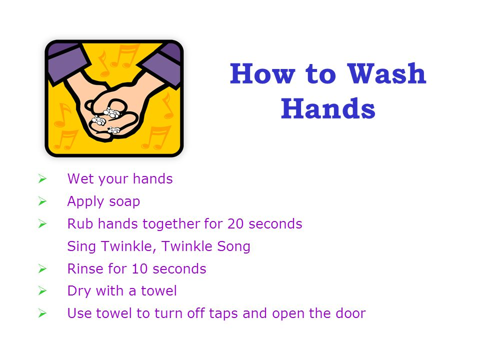 Wet your hands  Apply soap  Rub hands together for 20 seconds Sing Twinkle, Twinkle Song  Rinse for 10 seconds  Dry with a towel  Use towel to turn off taps and open the door How to Wash Hands